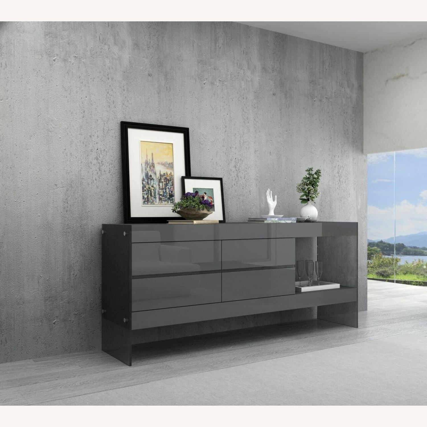 Modern Buffet In Grey Finish W/ Glass Base - image-3