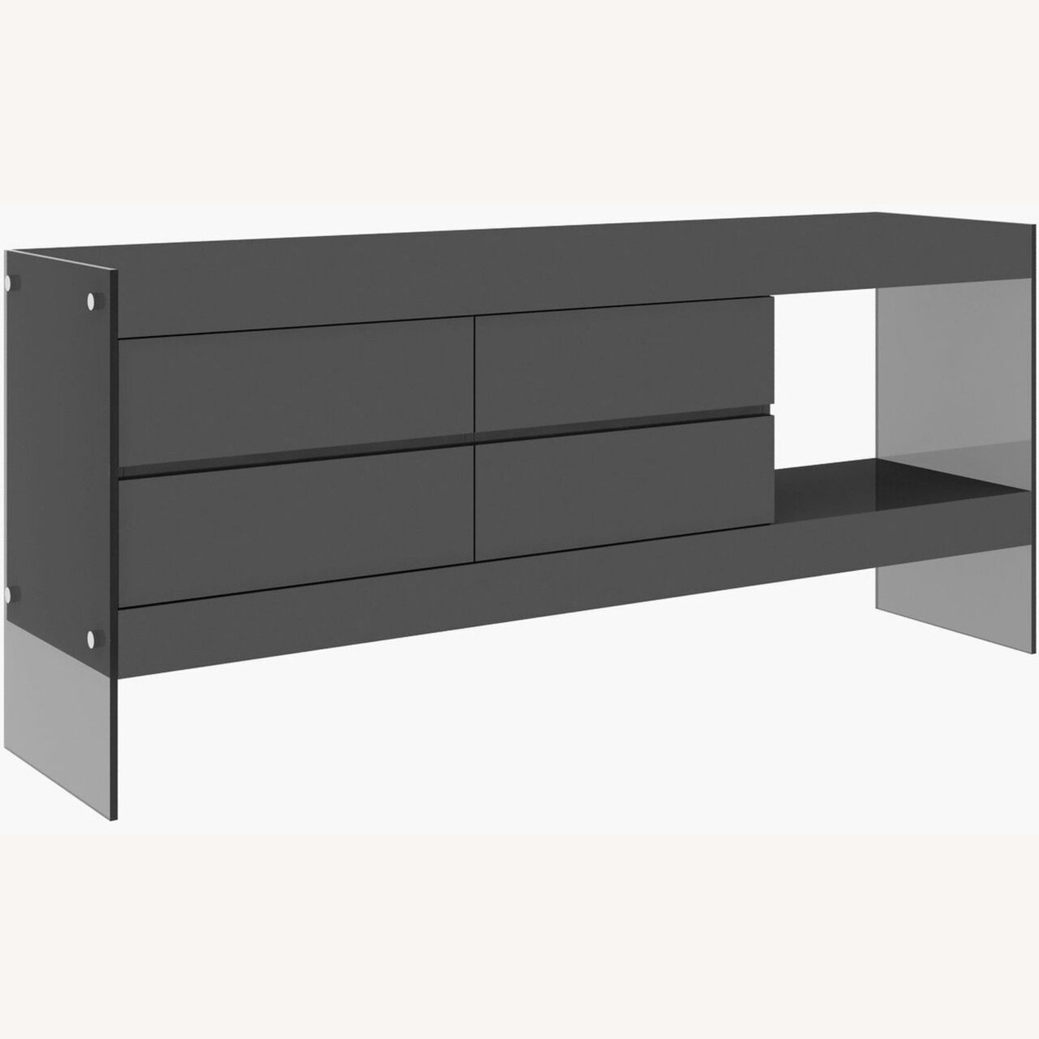 Modern Buffet In Grey Finish W/ Glass Base - image-1