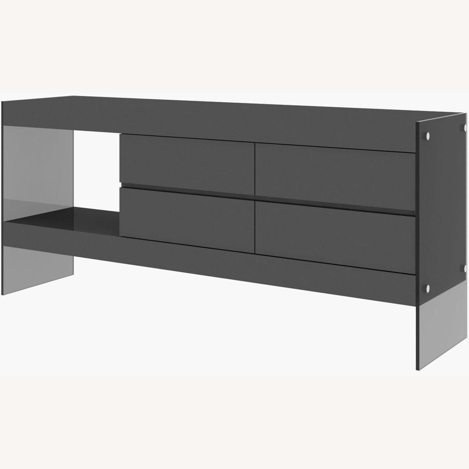 Modern Buffet In Grey Finish W/ Glass Base - image-2