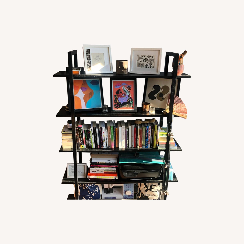 5 Tier Black Bookcase - image-0