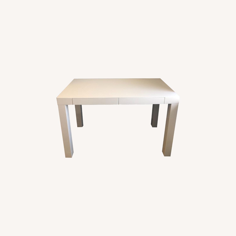 West Elm White Sleek Parsons Desk - image-0