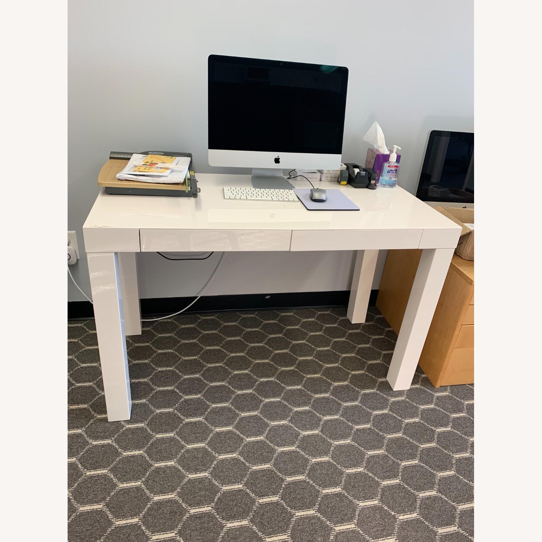 West Elm White Sleek Parsons Desk - image-2