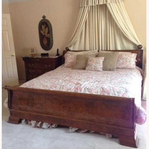 Used Henredon Charles V Vintage King Sleigh Bed (Burl) for sale on AptDeco