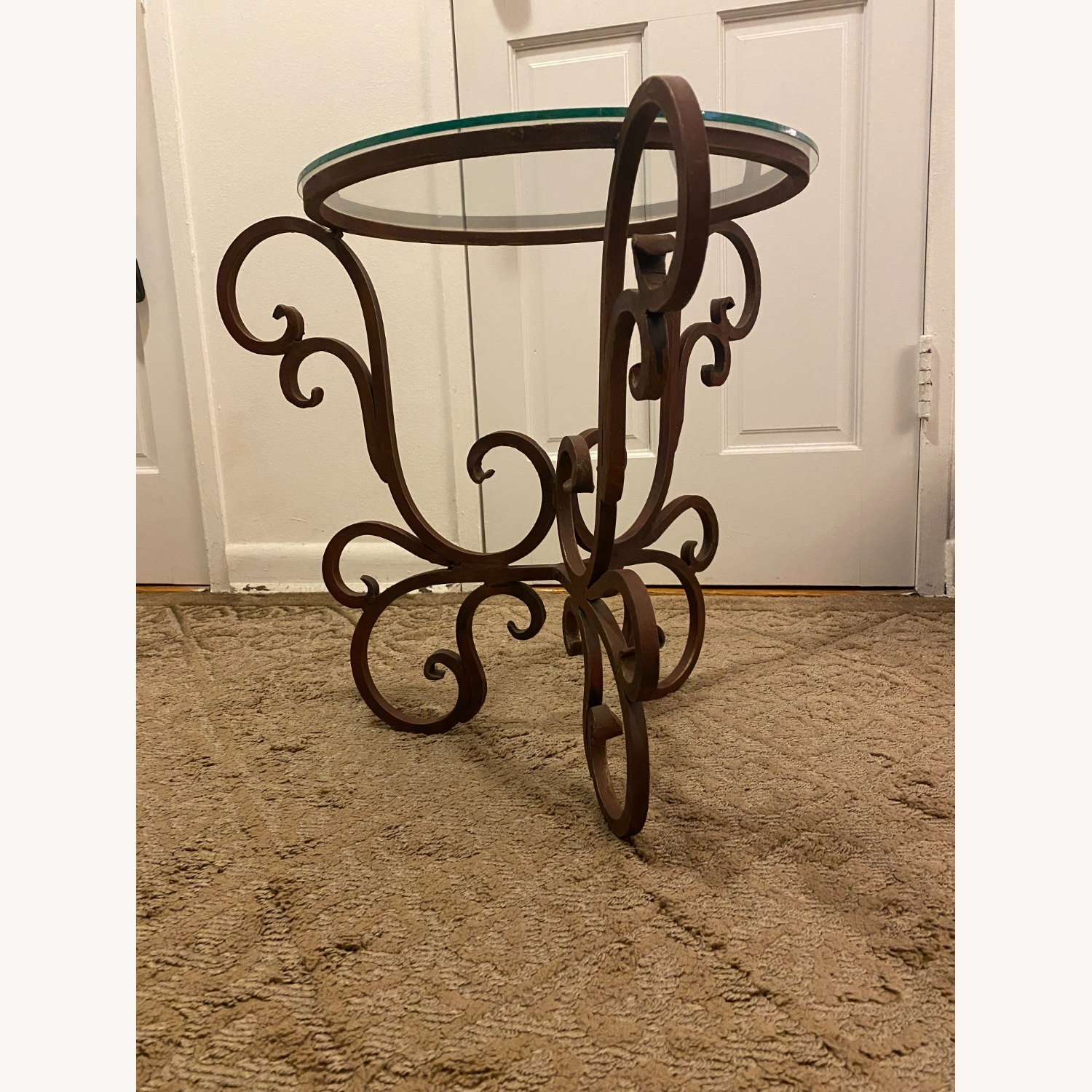 French Art Nouveau Wrought Iron Side Table - image-2