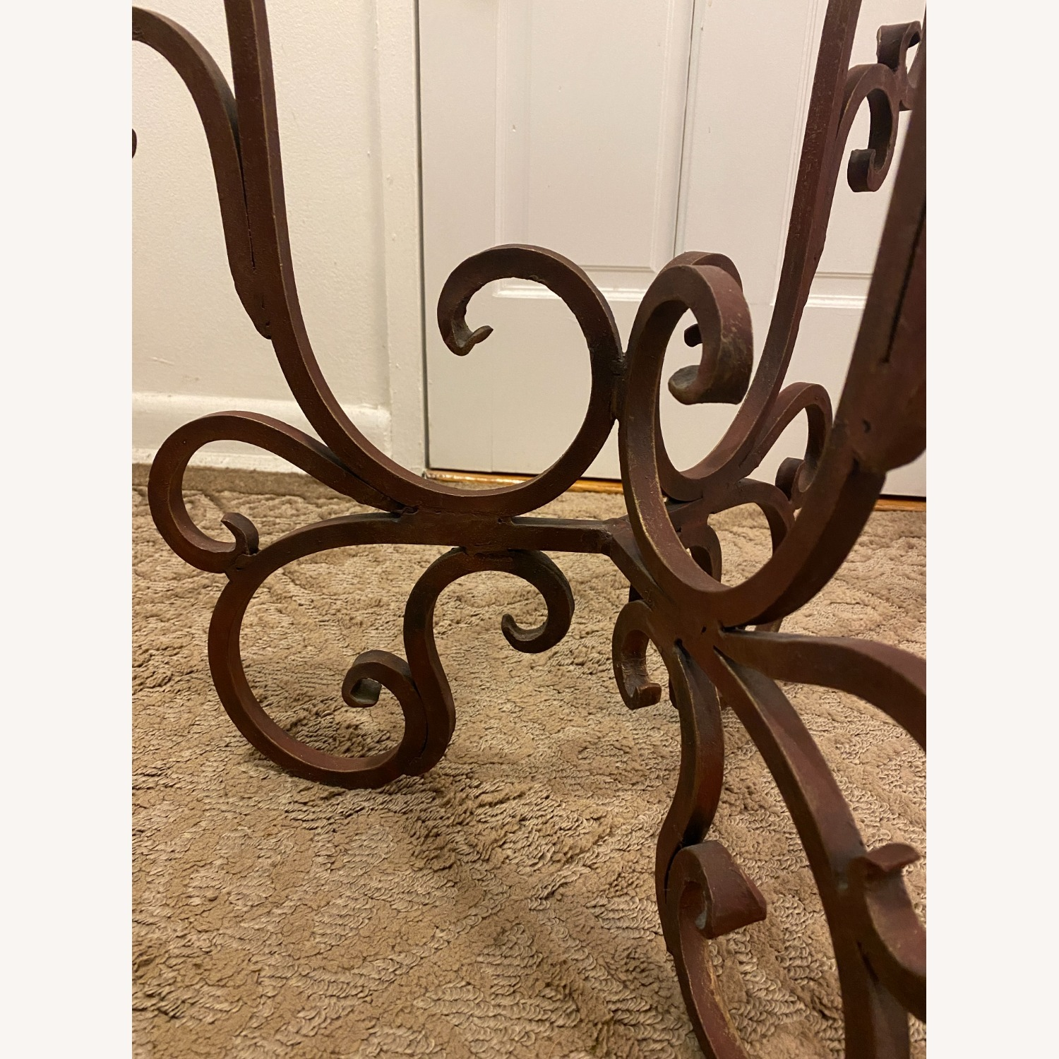 French Art Nouveau Wrought Iron Side Table - image-3