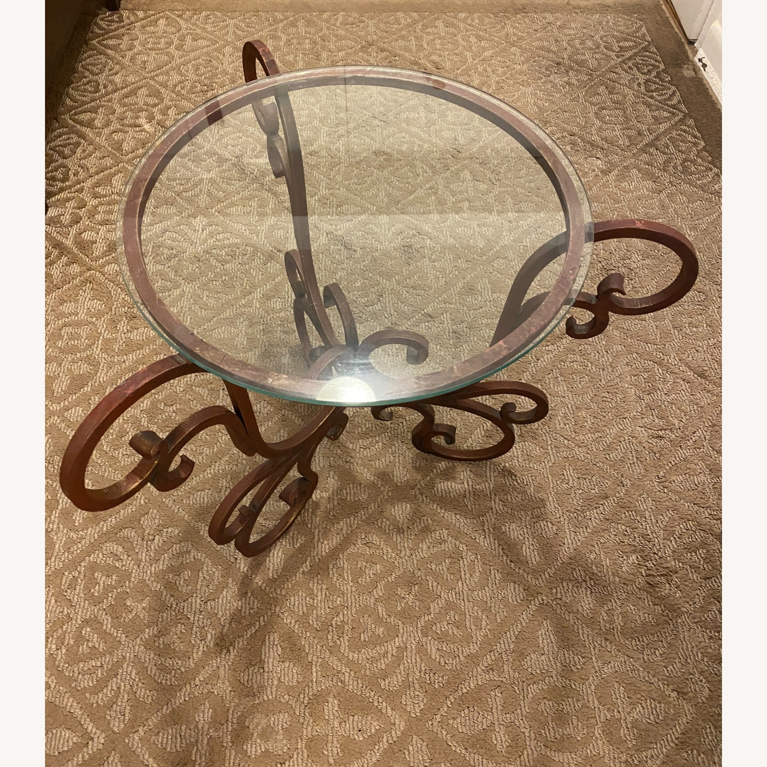 French Art Nouveau Wrought Iron Side Table - image-7