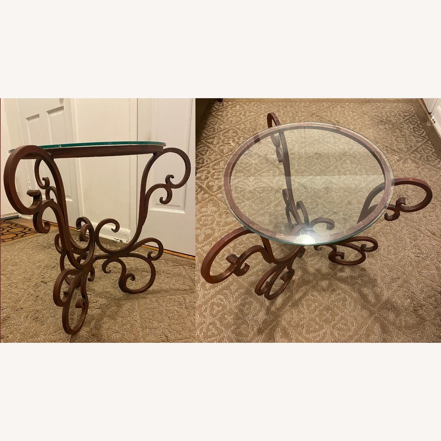 French Art Nouveau Wrought Iron Side Table - image-1