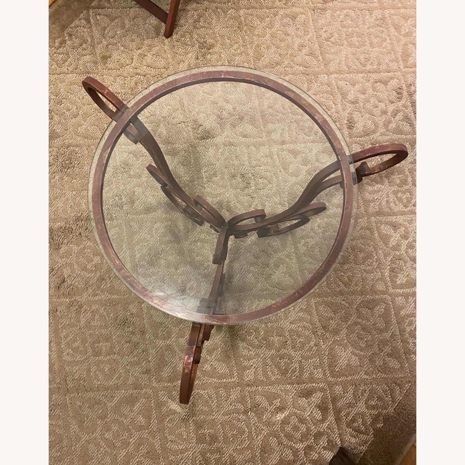 French Art Nouveau Wrought Iron Side Table - image-5