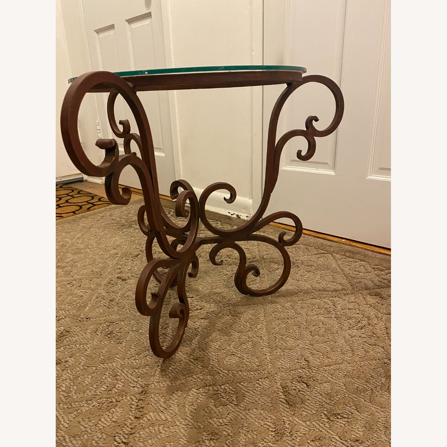French Art Nouveau Wrought Iron Side Table - image-6