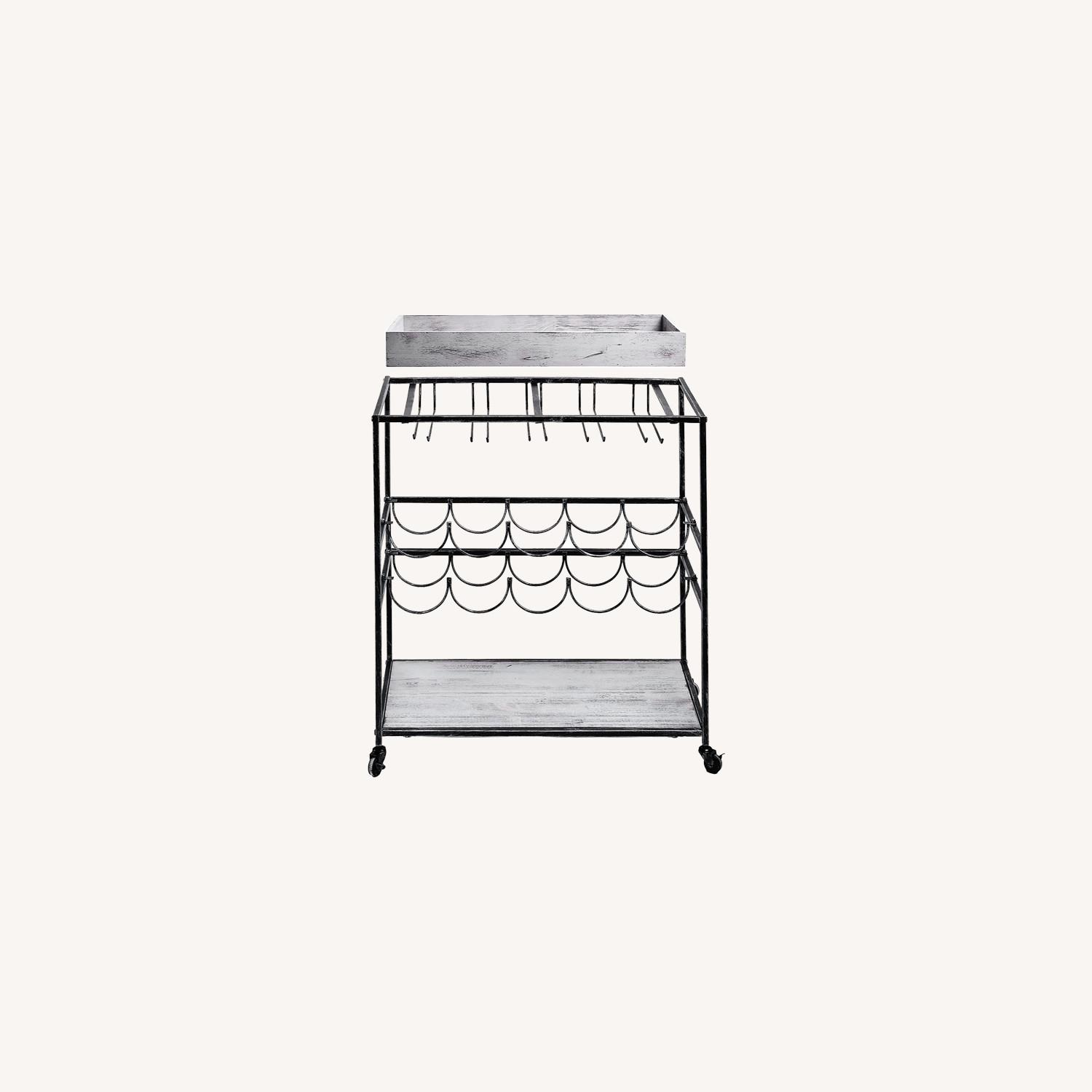 Wayfair Gray Bar Cart with Removable Serving Tray - image-0