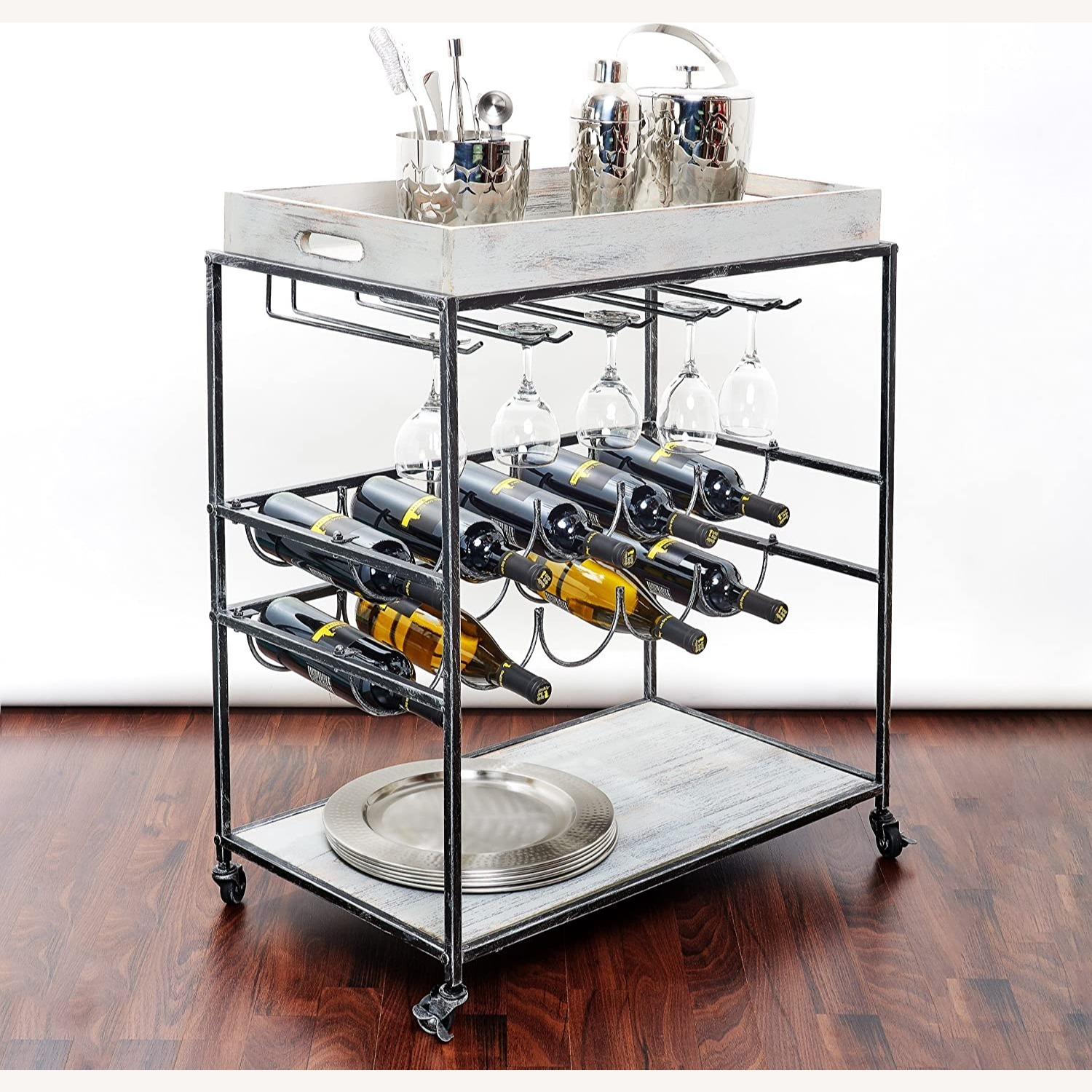 Wayfair Gray Bar Cart with Removable Serving Tray - image-2