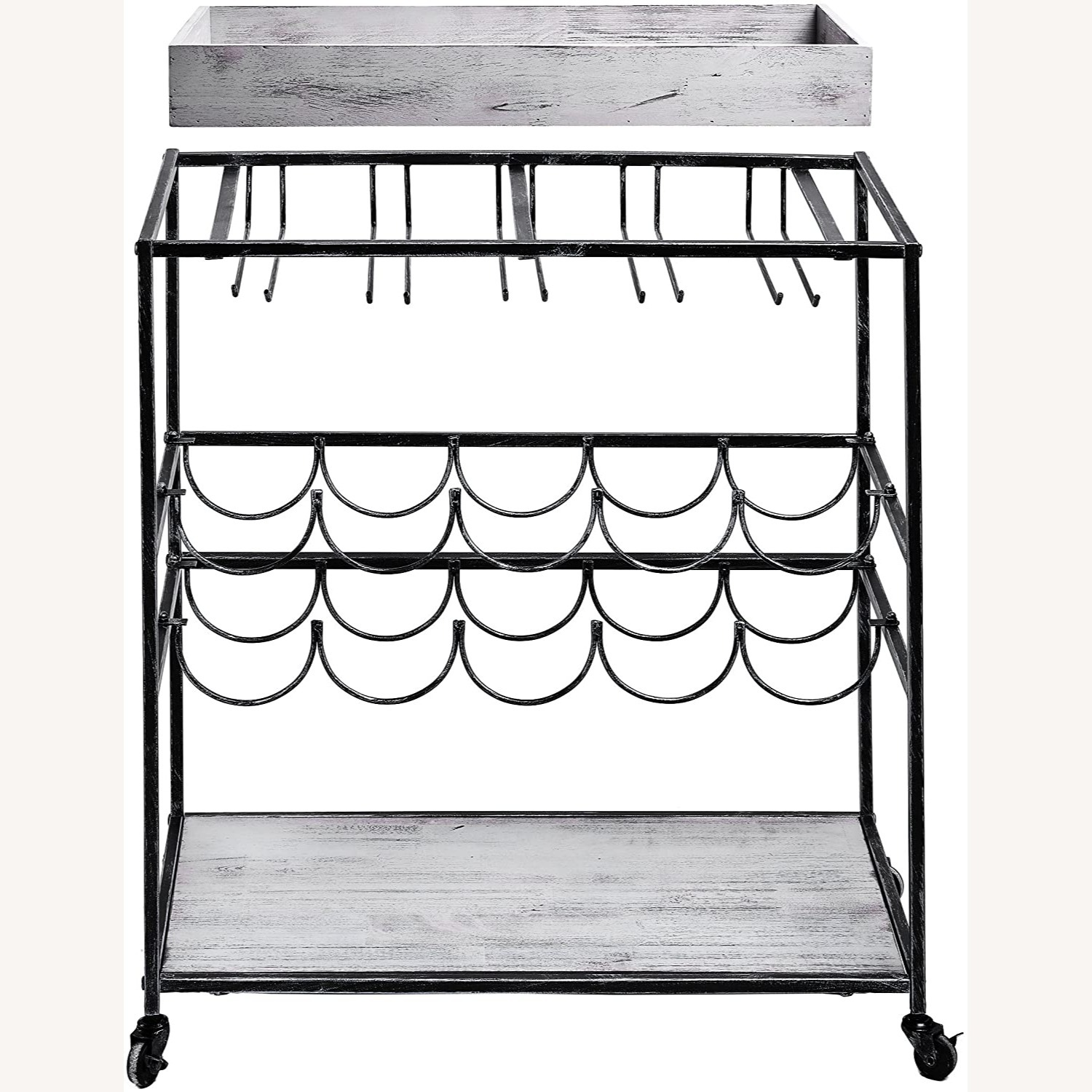 Wayfair Gray Bar Cart with Removable Serving Tray - image-3