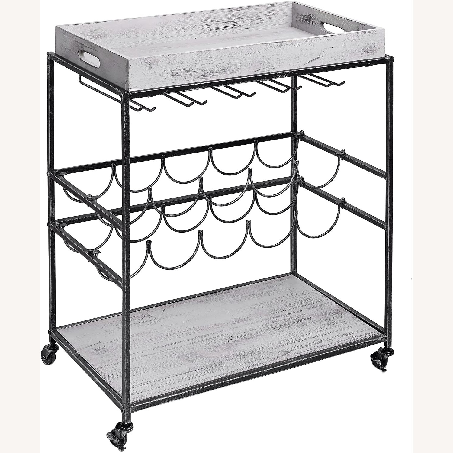 Wayfair Gray Bar Cart with Removable Serving Tray - image-1