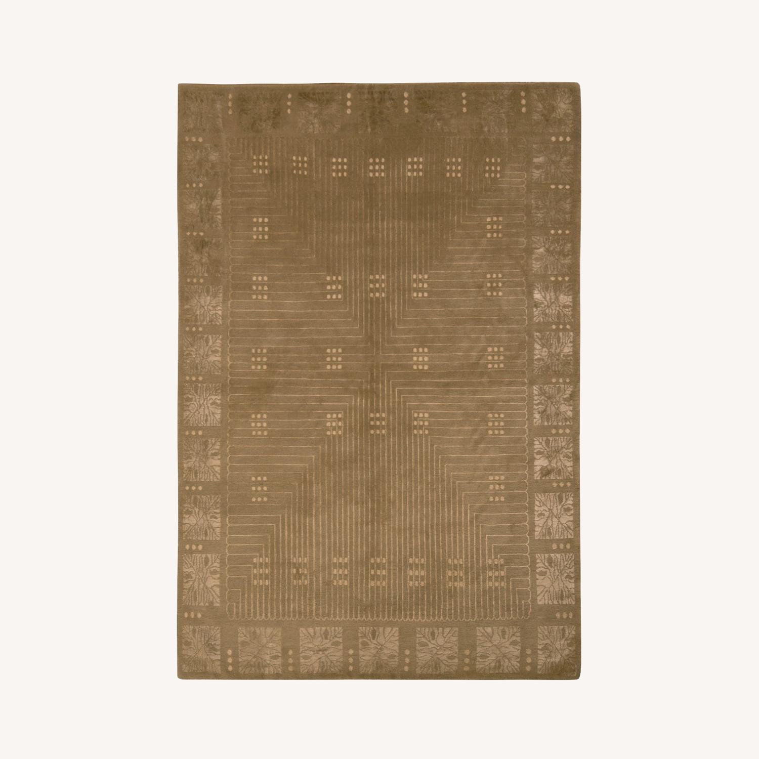 Hand-Knotted Art Deco Style Rug Beige Green - image-0