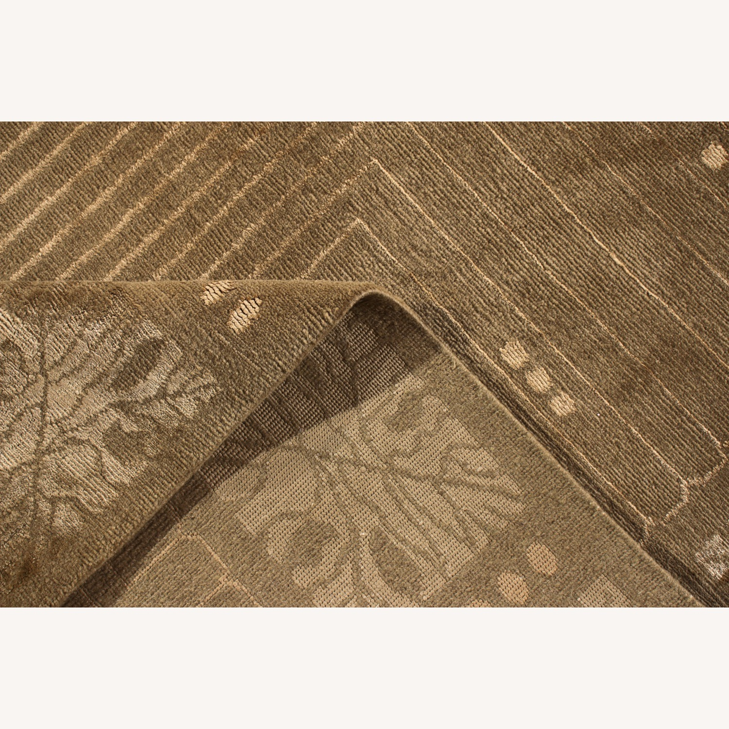 Hand-Knotted Art Deco Style Rug Beige Green - image-3