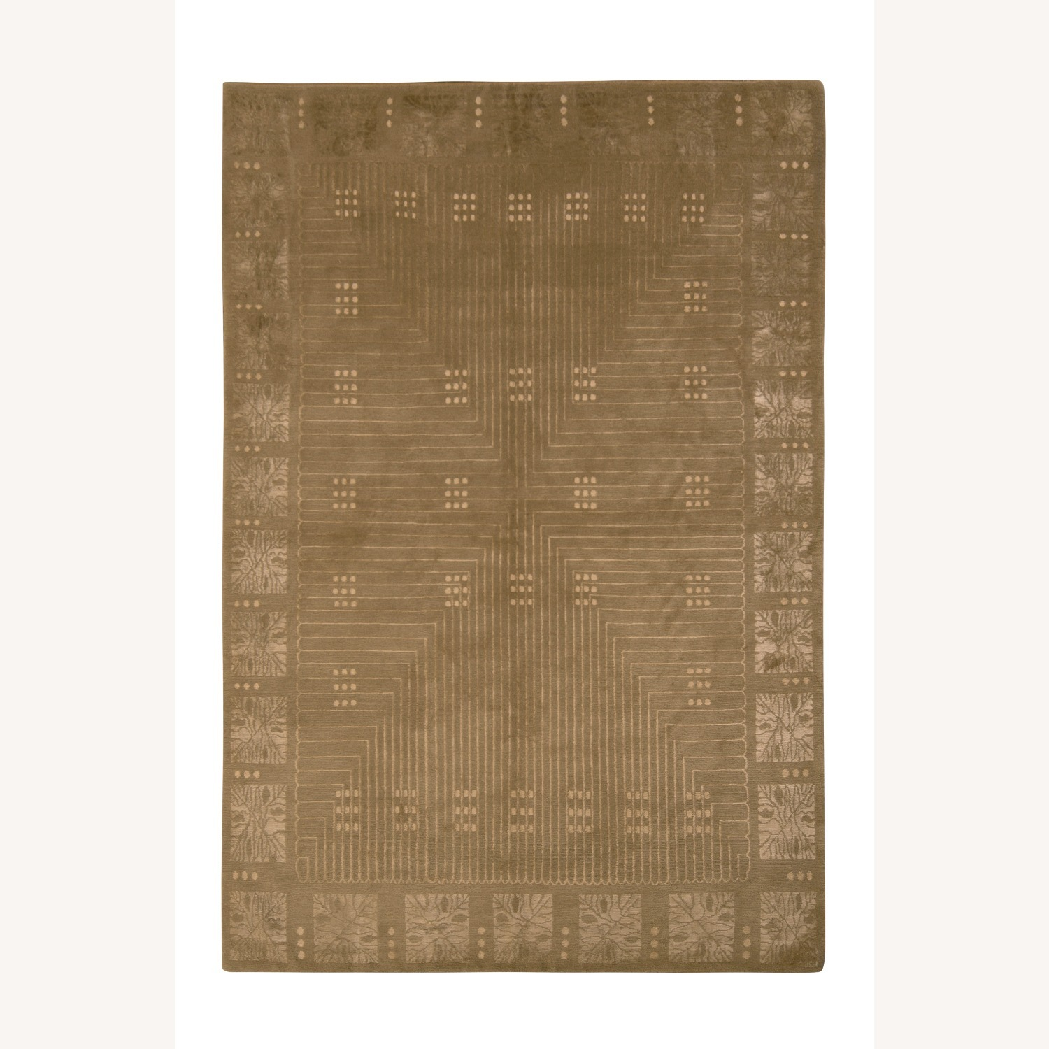 Hand-Knotted Art Deco Style Rug Beige Green - image-1