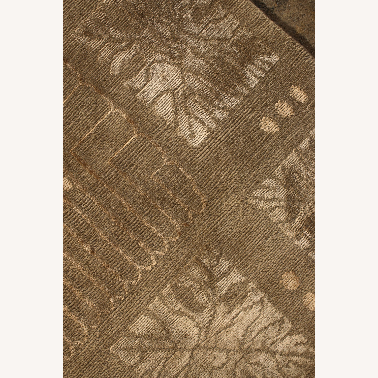 Hand-Knotted Art Deco Style Rug Beige Green - image-5