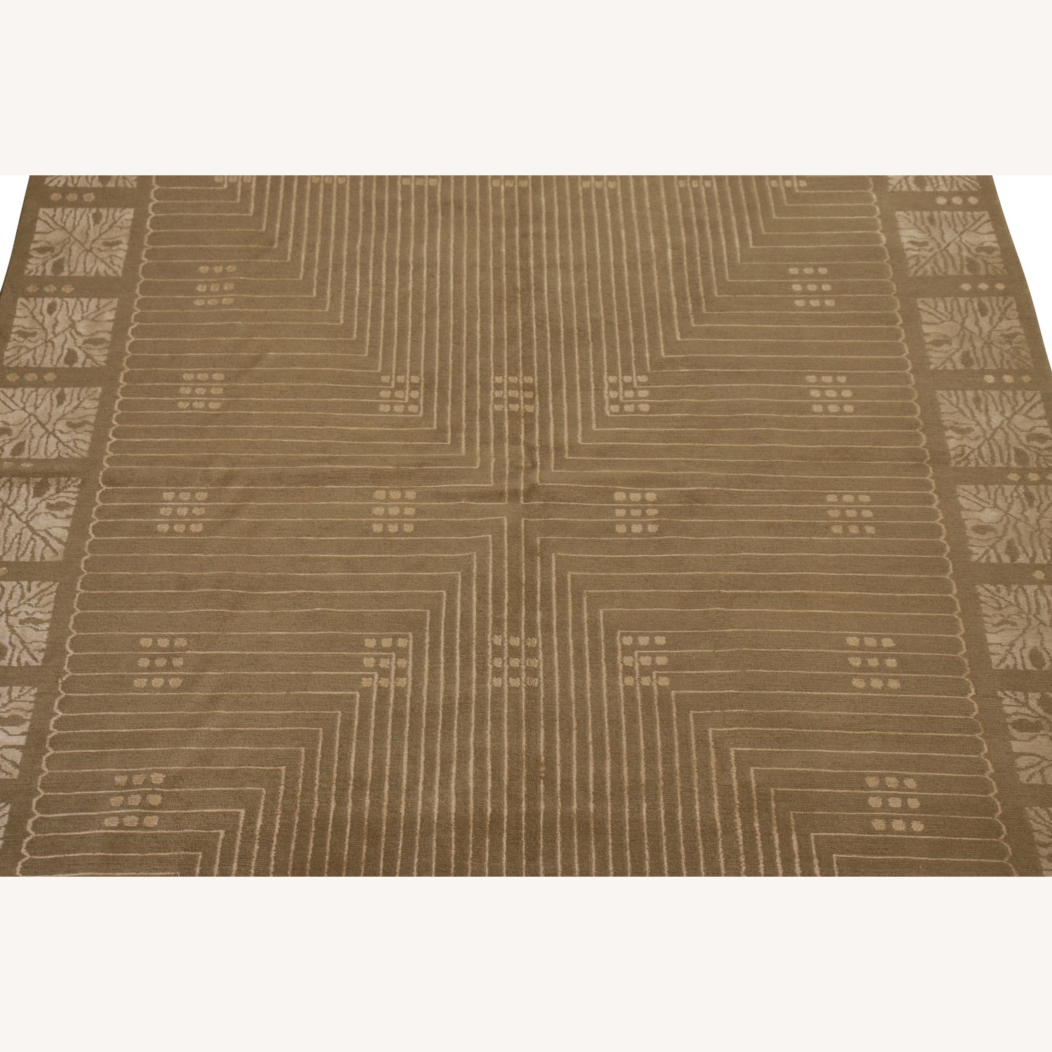 Hand-Knotted Art Deco Style Rug Beige Green - image-4