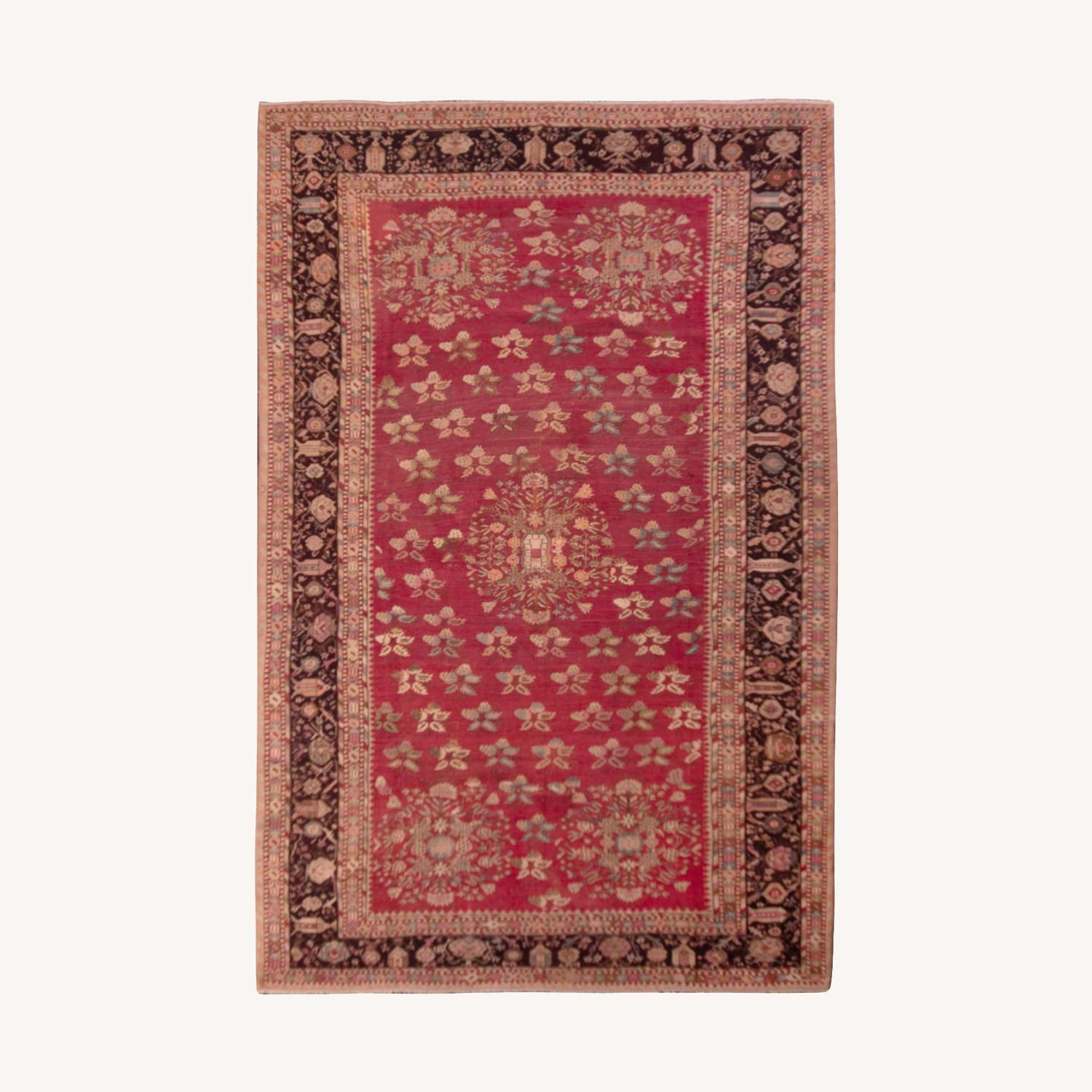 Antique Gordes Rug Red Floral Pattern - image-0