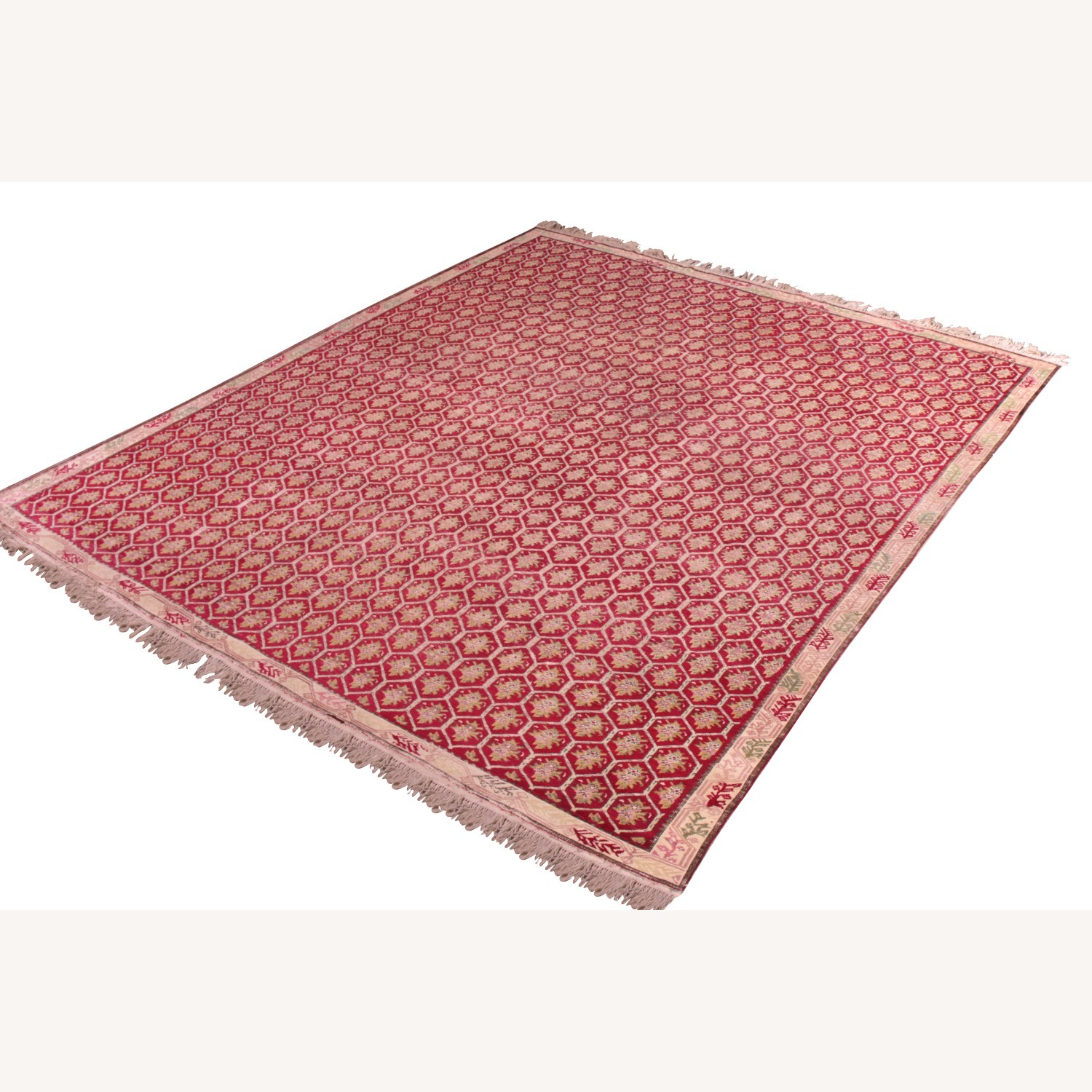 Antique Red and Pink Floral Rug - image-3