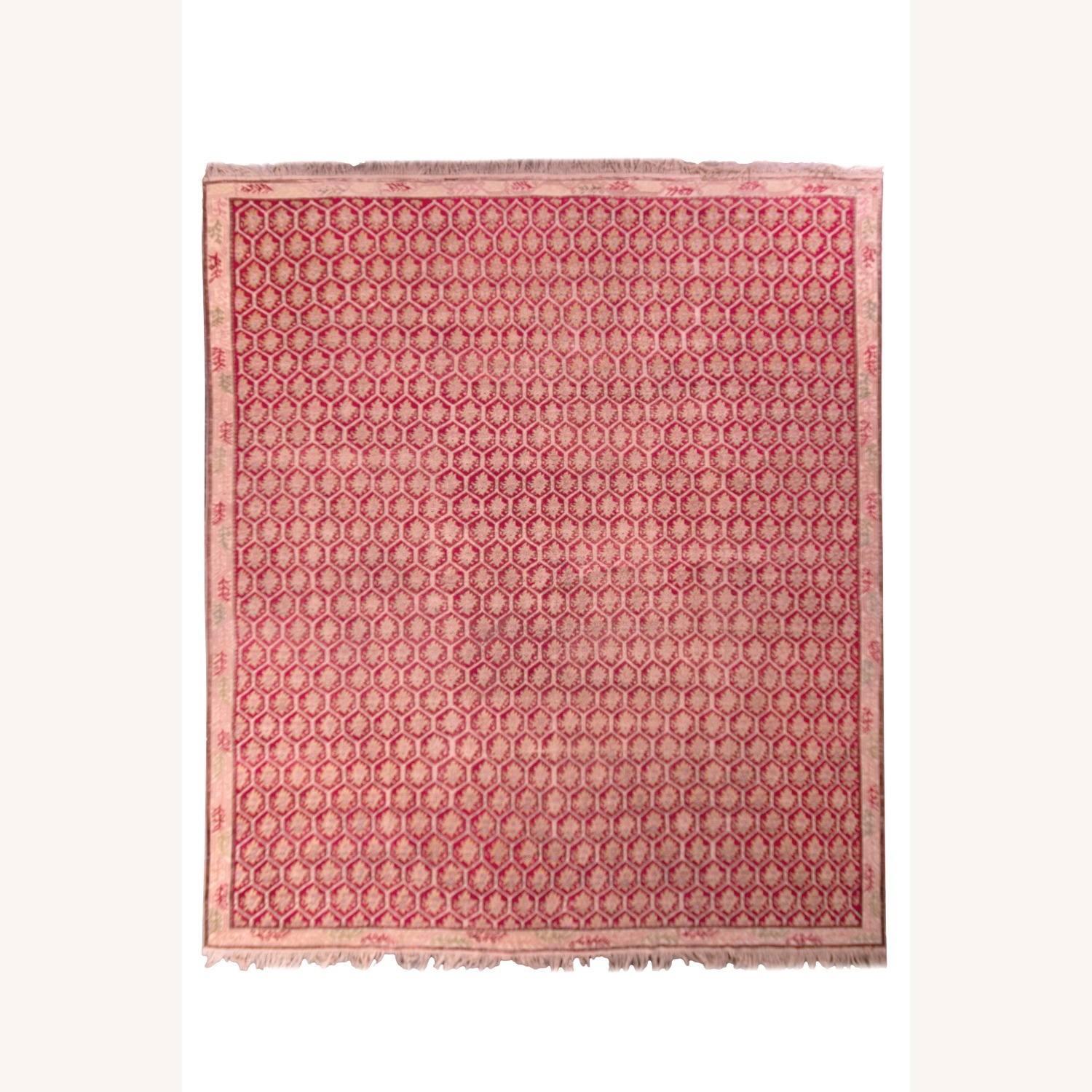 Antique Red and Pink Floral Rug - image-1
