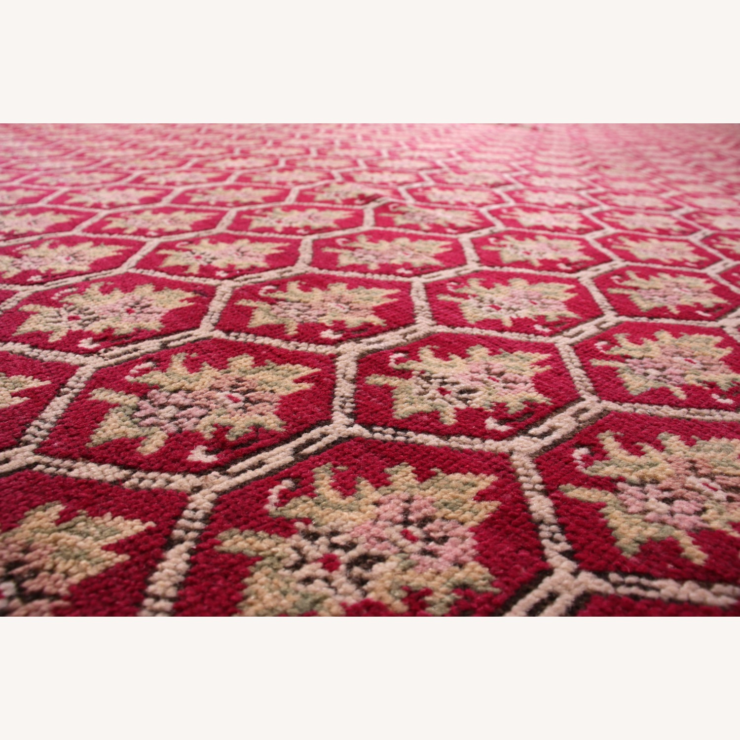 Antique Red and Pink Floral Rug - image-4