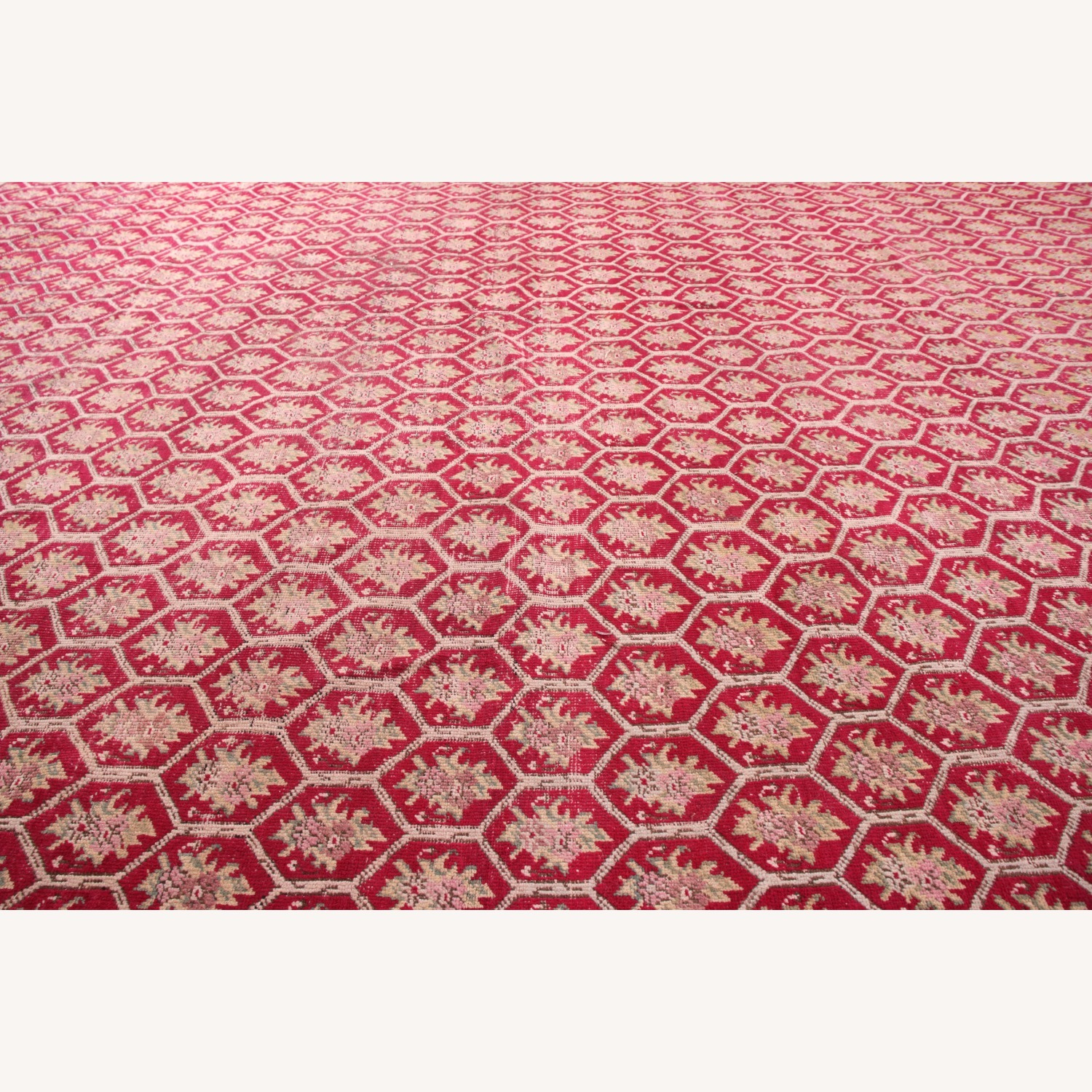 Antique Red and Pink Floral Rug - image-5