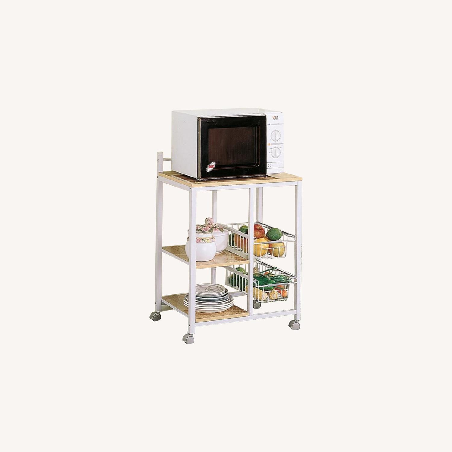 Kitchen Cart In Natural Brown W/ 2 Open Shelves - image-3