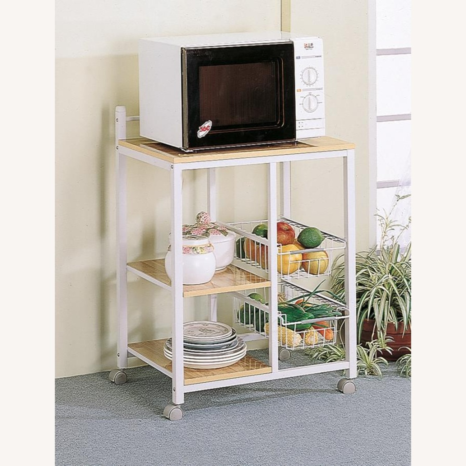 Kitchen Cart In Natural Brown W/ 2 Open Shelves - image-0