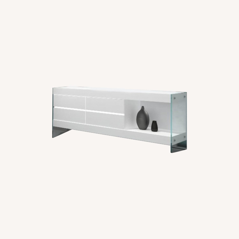 Modern Buffet In White Finish W/ Glass Base - image-3