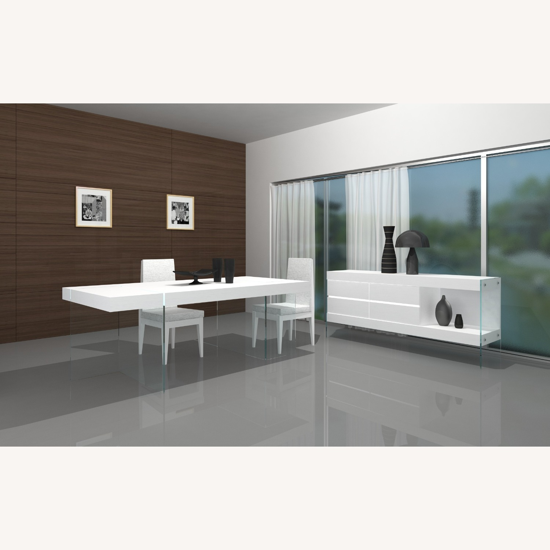 Modern Buffet In White Finish W/ Glass Base - image-2
