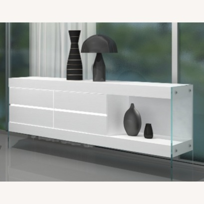 Modern Buffet In White Finish W/ Glass Base - image-0