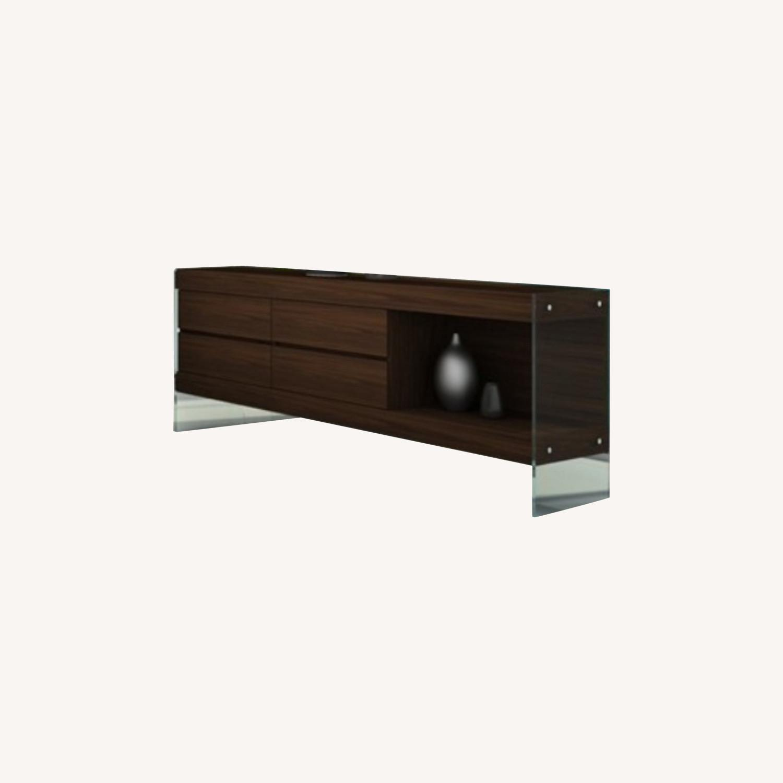 Modern Buffet In Dark Oak Finish W/ Open Shelf - image-3