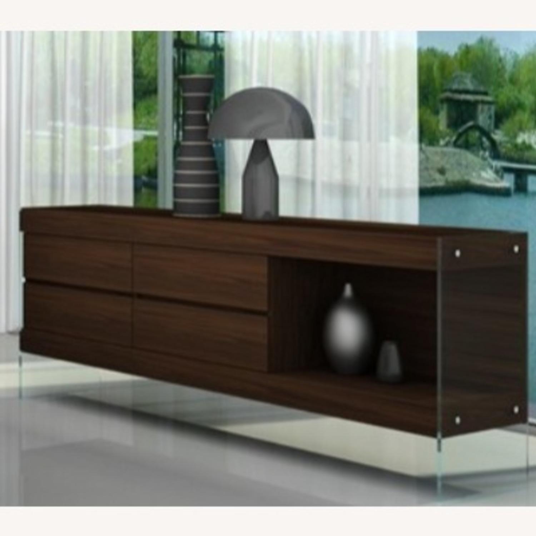 Modern Buffet In Dark Oak Finish W/ Open Shelf - image-1
