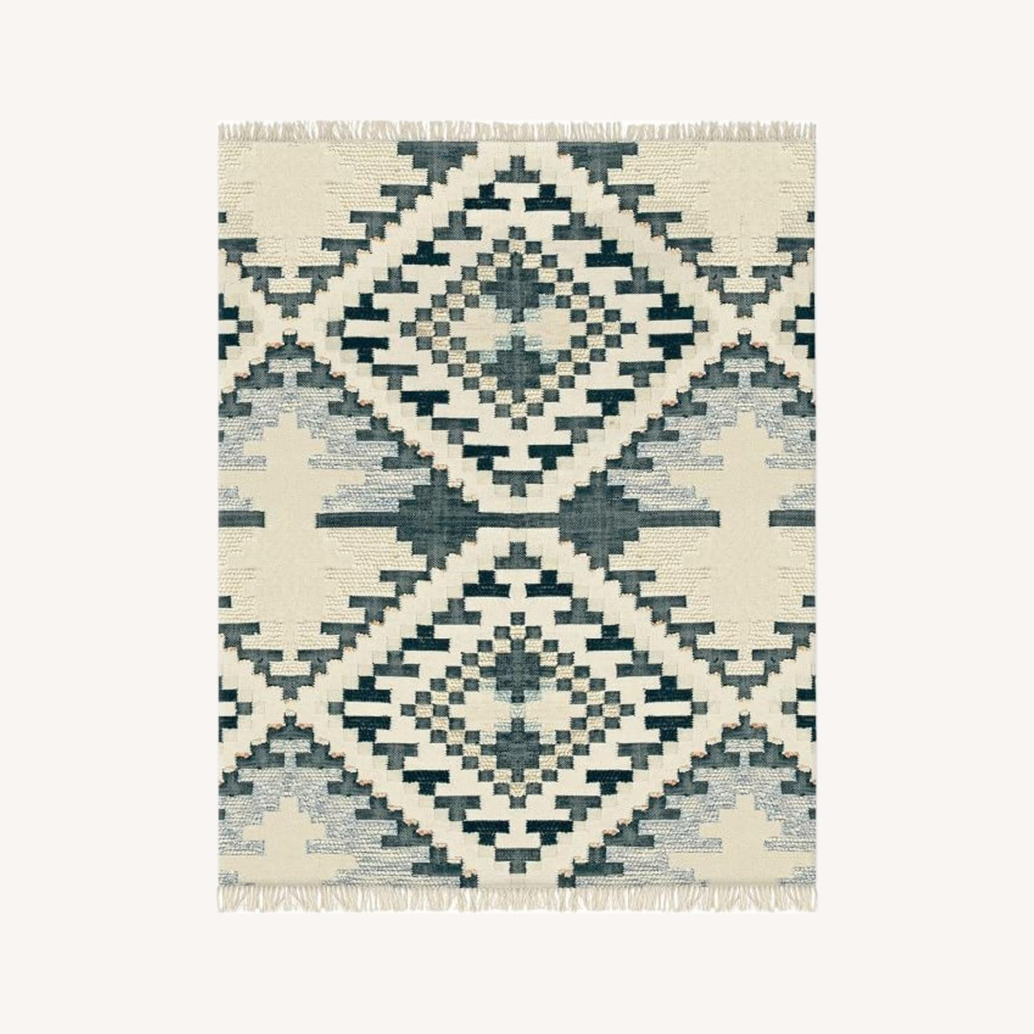 West Elm Checkerboard Diamond Wool Dhurrie - image-0