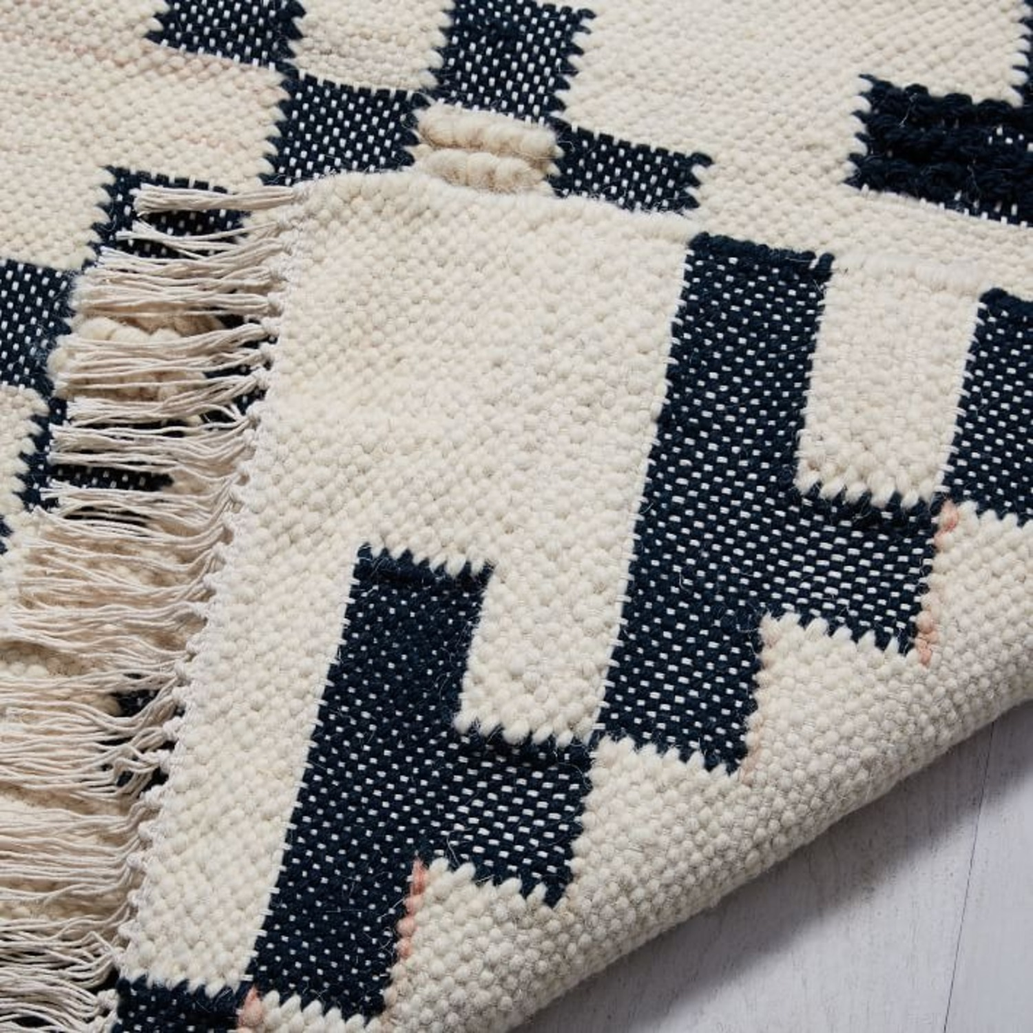 West Elm Checkerboard Diamond Wool Dhurrie - image-1