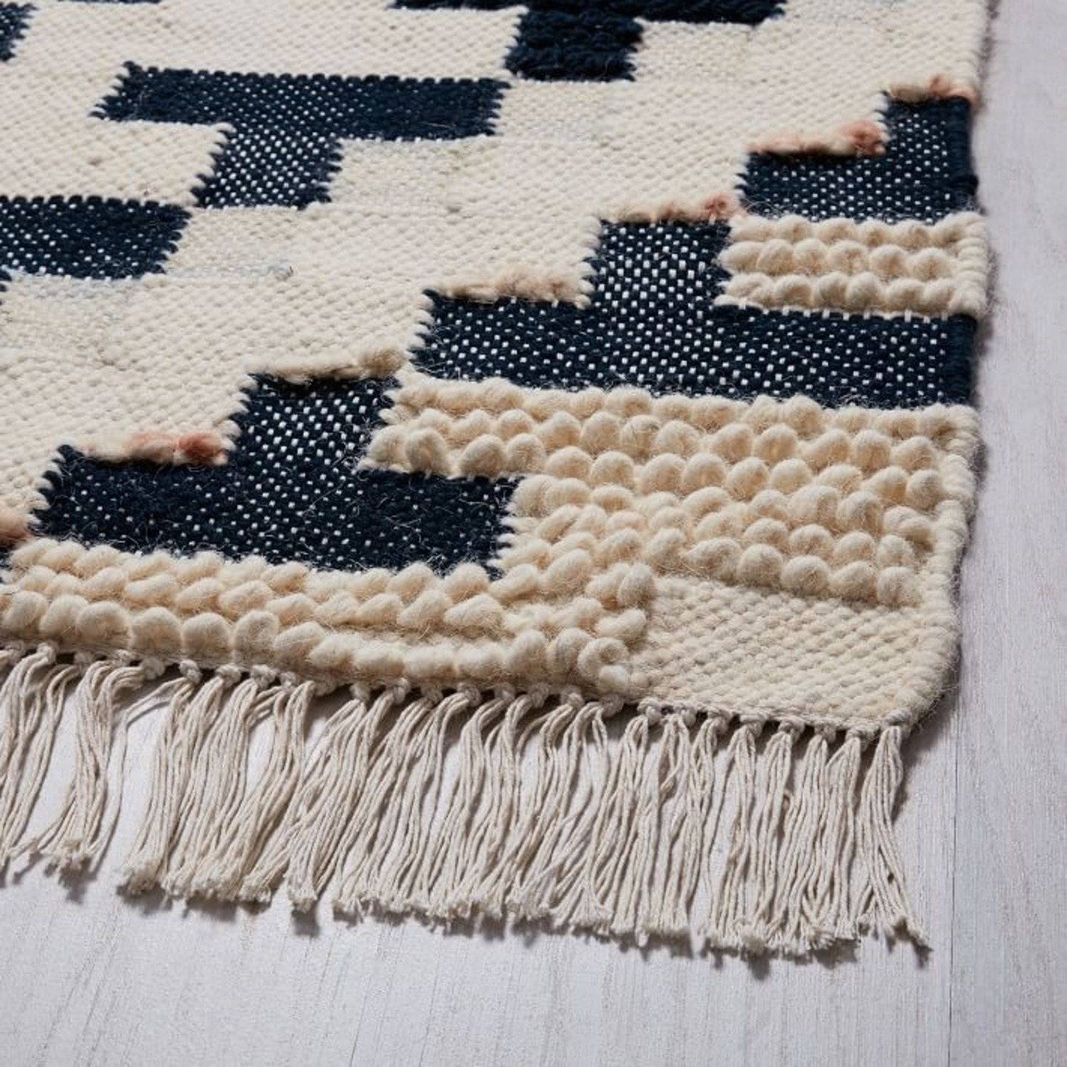 West Elm Checkerboard Diamond Wool Dhurrie - image-2
