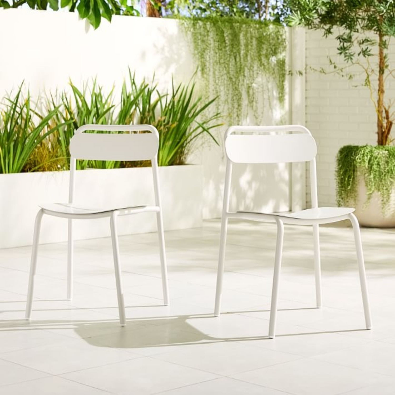 West Elm Outdoor Metal Stacking Chair,  Set of 2 - image-3