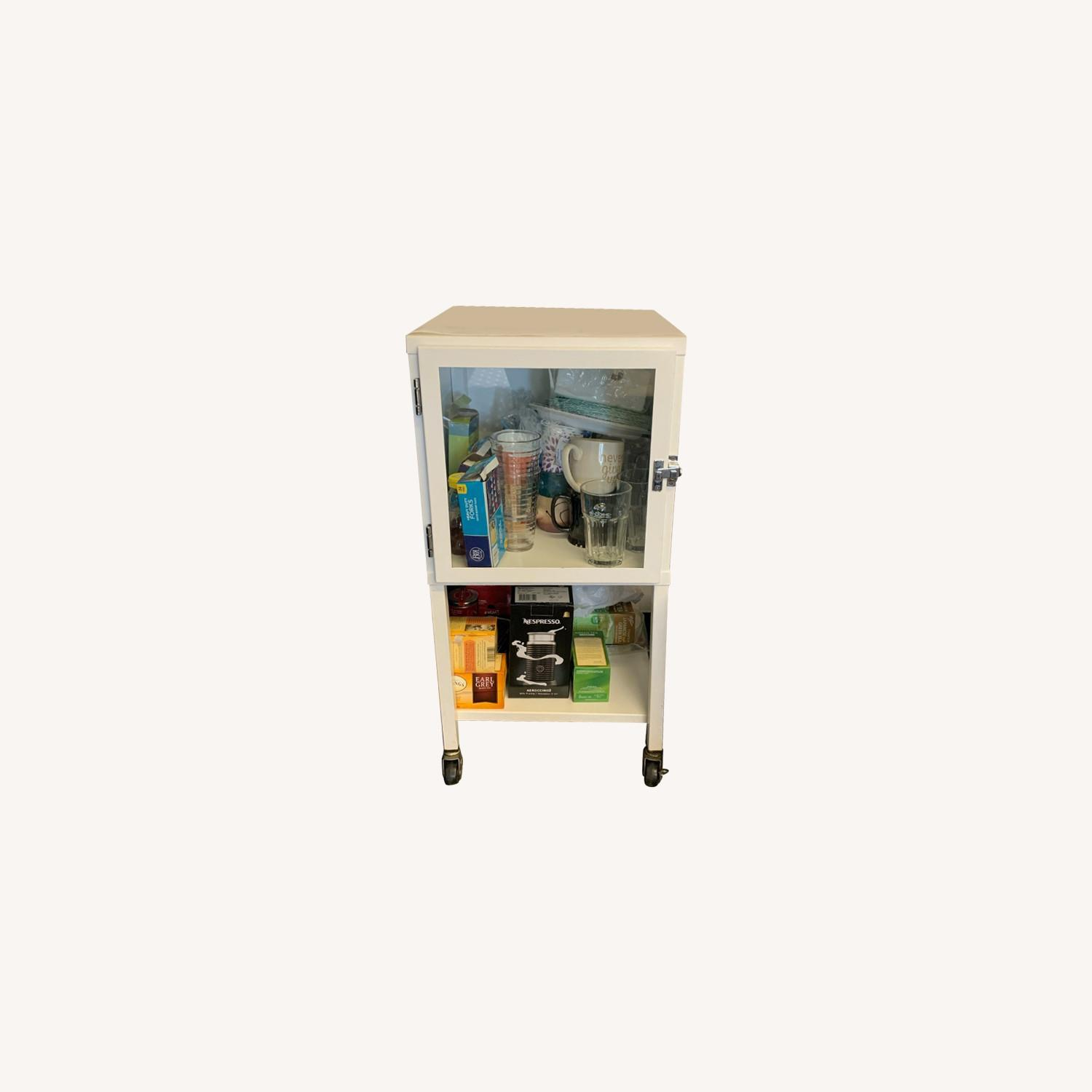 Small White Bar Cart with Glass Cabinet - image-0
