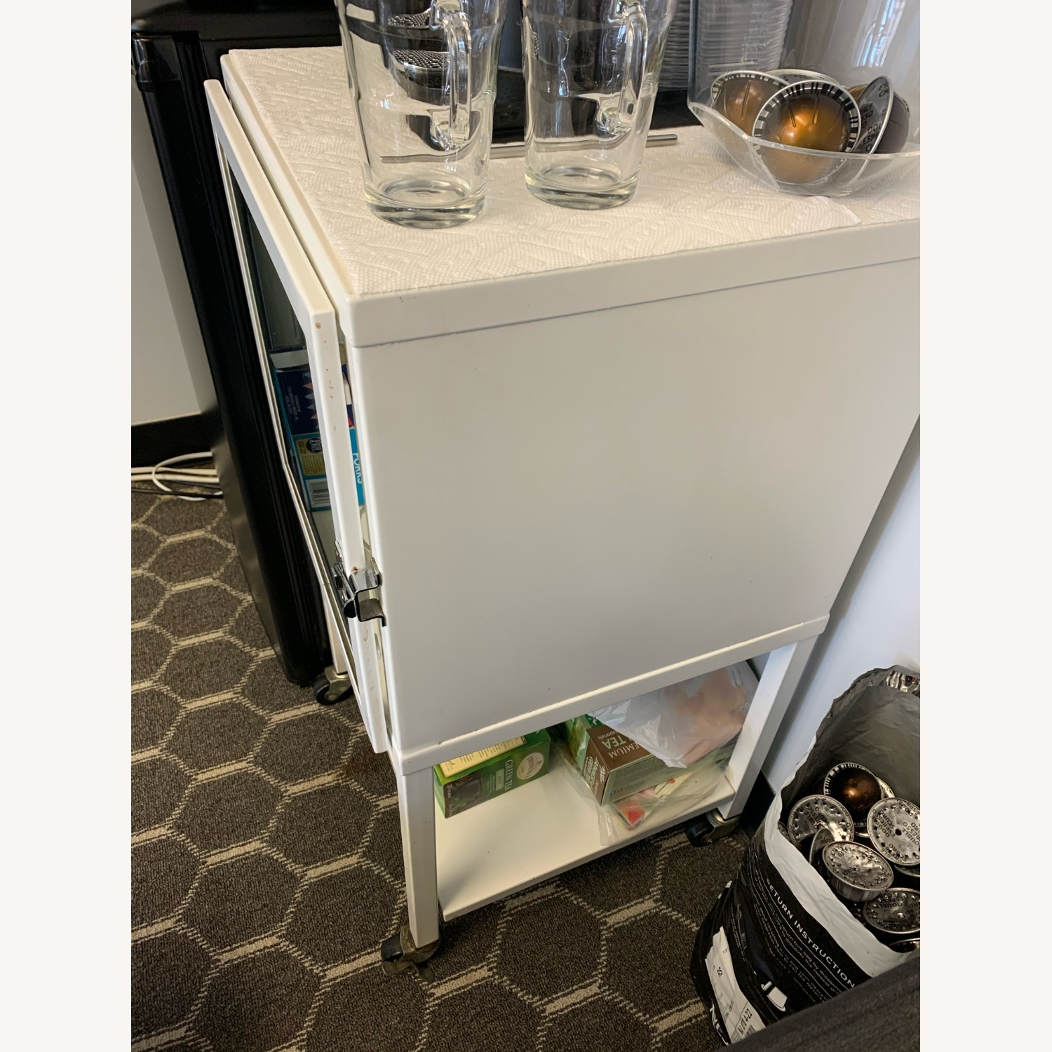 Small White Bar Cart with Glass Cabinet - image-3