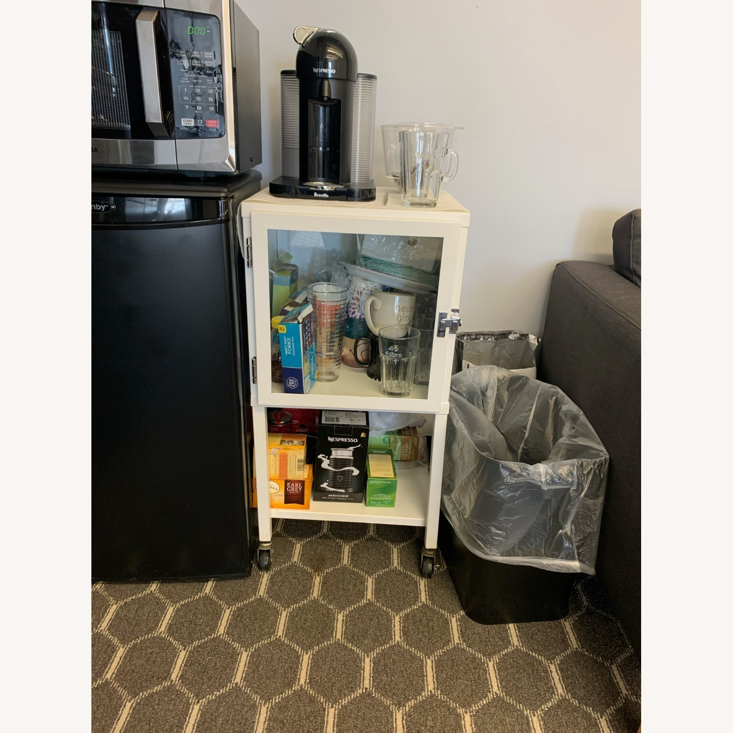 Small White Bar Cart with Glass Cabinet - image-2
