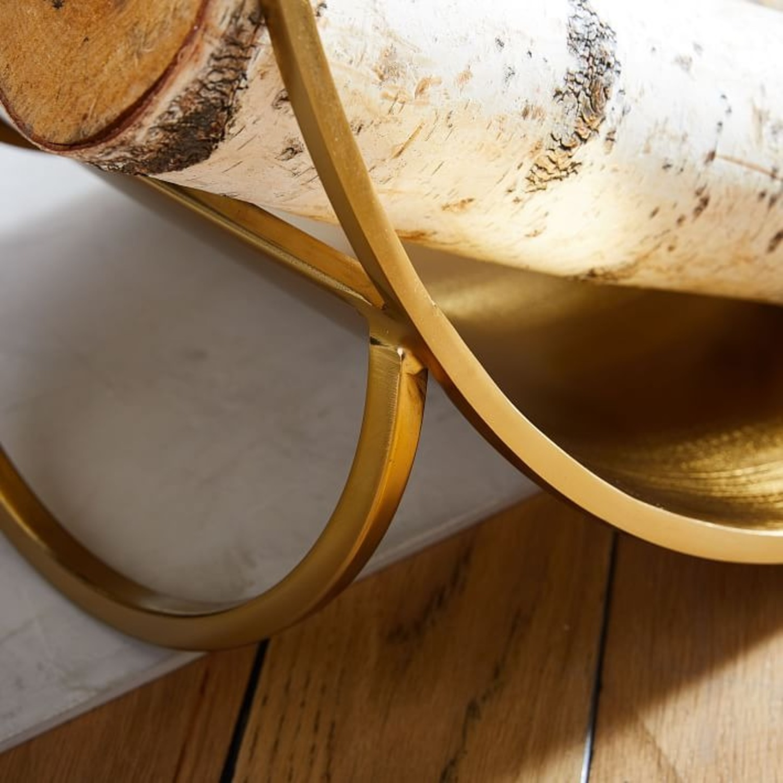West Elm Cut Out Firewood Holder, Antique Brass - image-1