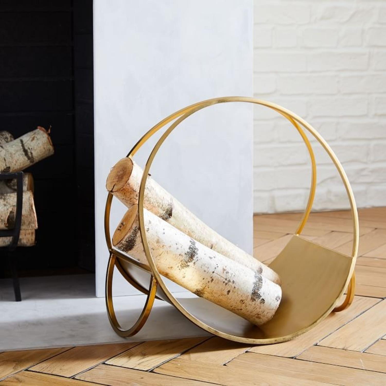 West Elm Cut Out Firewood Holder, Antique Brass - image-3