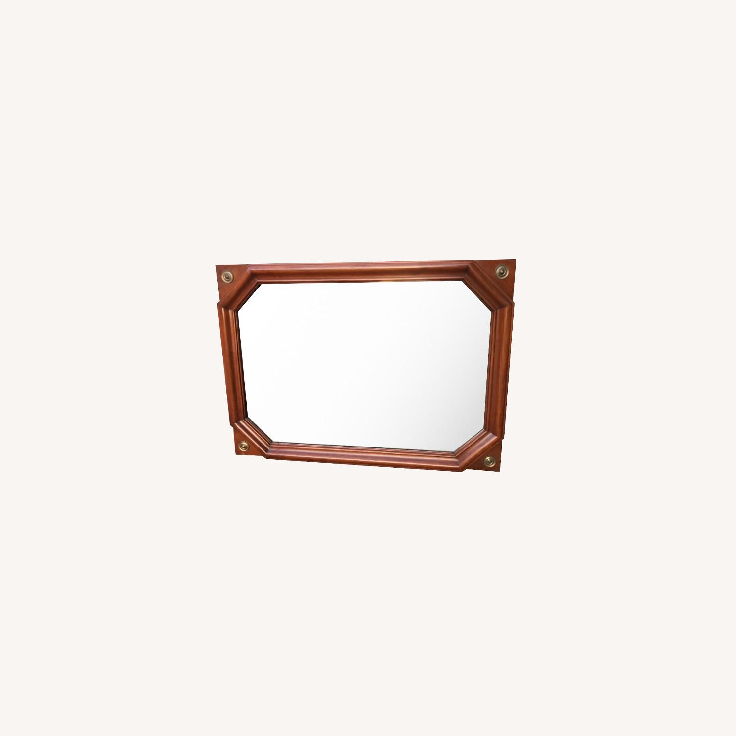 Vintage 1970s Wooden Framed Wall Mirror - image-0