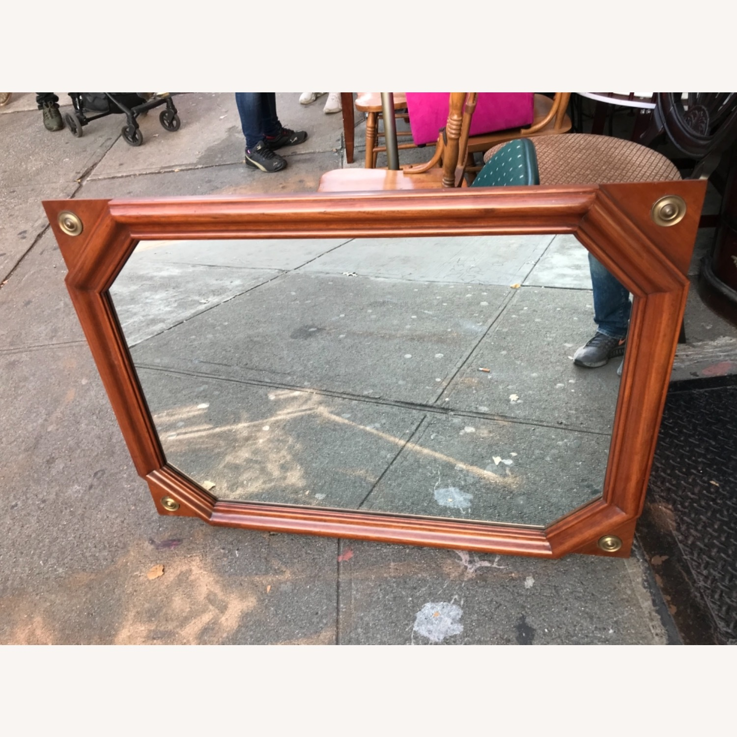 Vintage 1970s Wooden Framed Wall Mirror - image-1