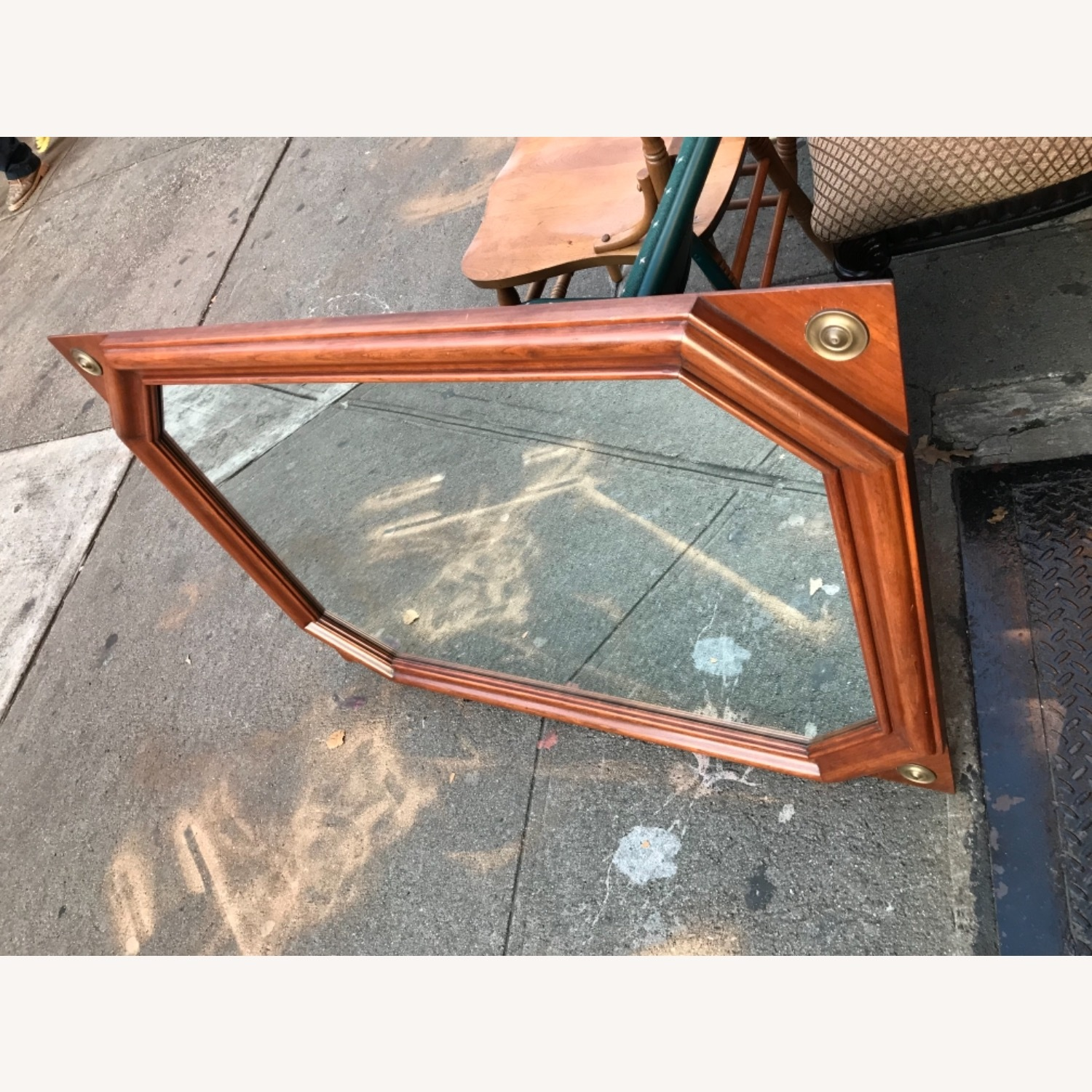 Vintage 1970s Wooden Framed Wall Mirror - image-2