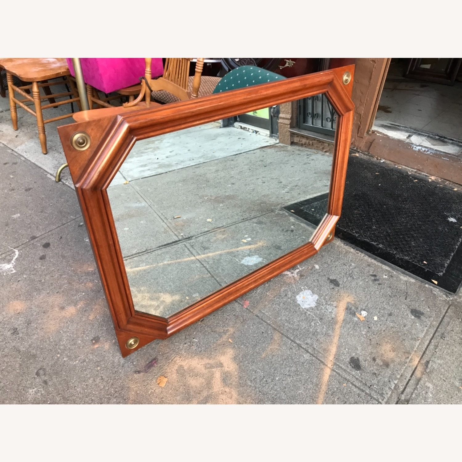 Vintage 1970s Wooden Framed Wall Mirror - image-3