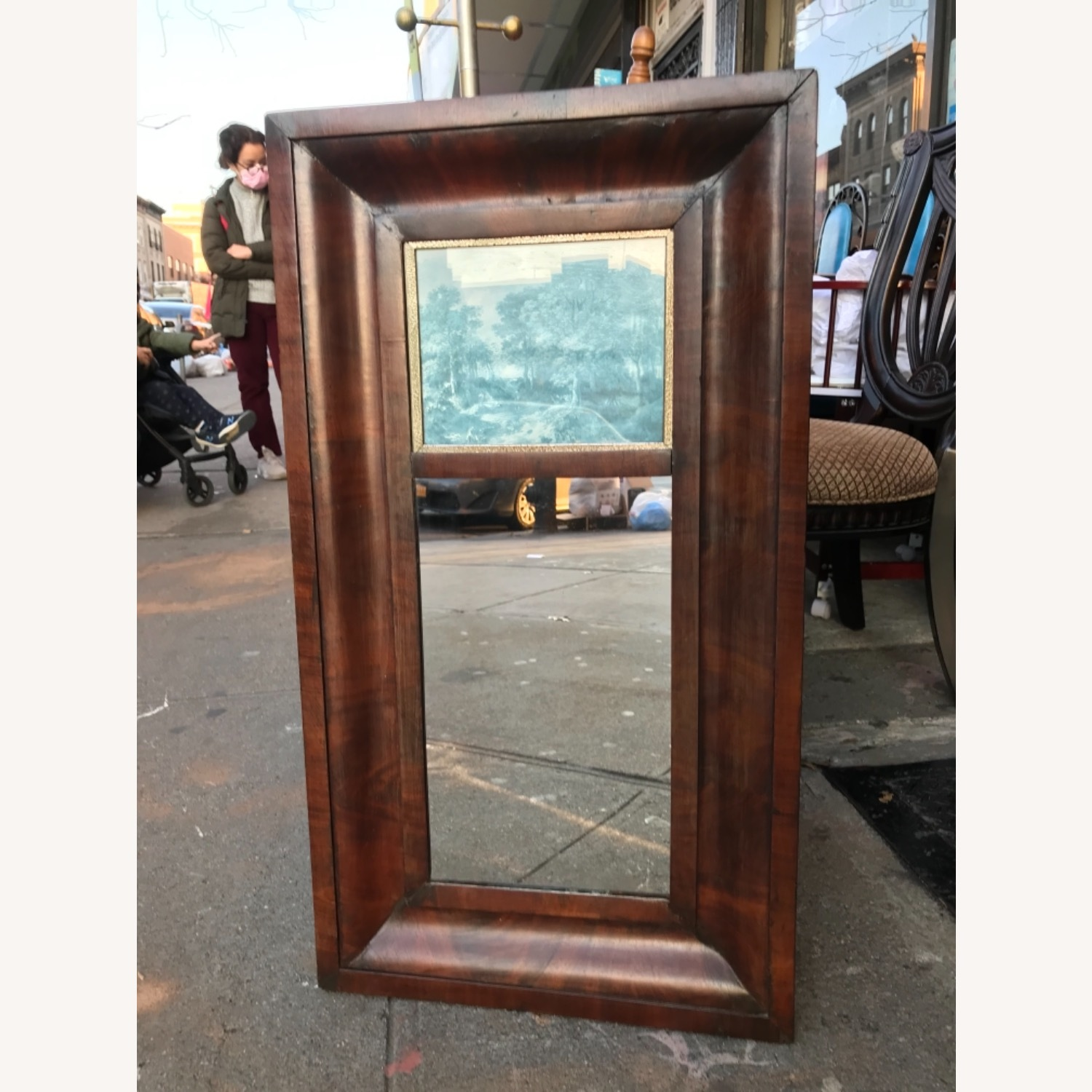 Antique 1900s Mahogany Framed Mirror w/ Picture - image-7