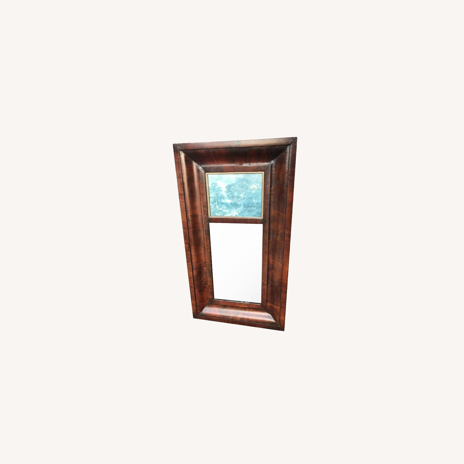 Antique 1900s Mahogany Framed Mirror w/ Picture - image-0