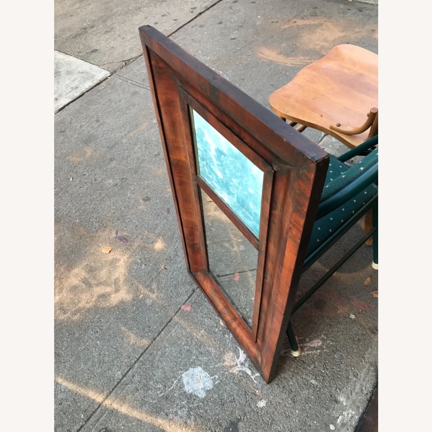 Antique 1900s Mahogany Framed Mirror w/ Picture - image-5